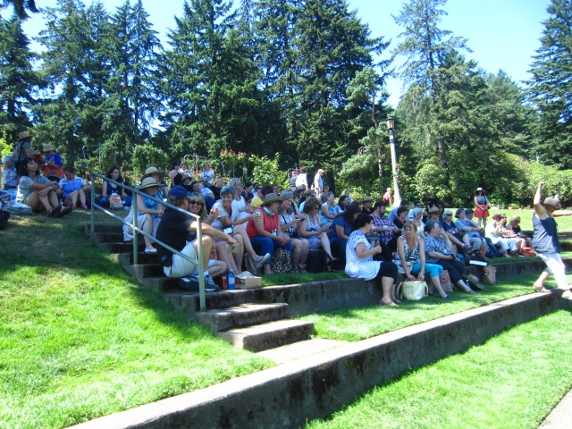 At the Rose Test Garden, directly following the Portland Japanese Garden, most of us bolted straight for one of the few shady spots at the Amphitheater, where lunch, and a Corona presentation were served.