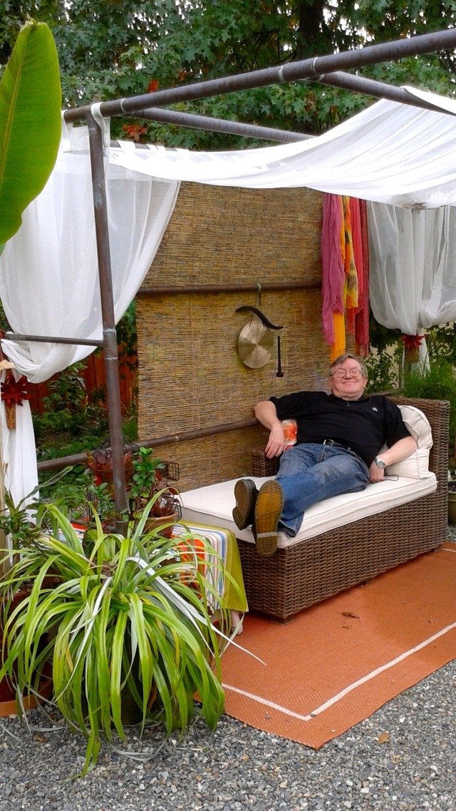 Here is Nigel - Alison's lucky husband, stretched out in the Cabana.