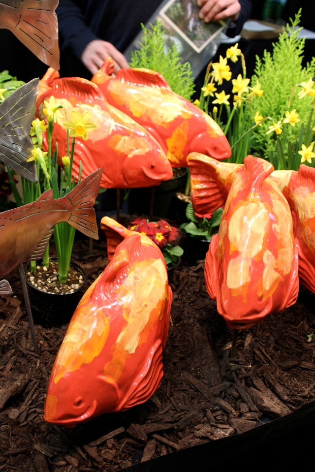 Ceramic fish complete with stakes to turn your flower beds into marine landscapes.