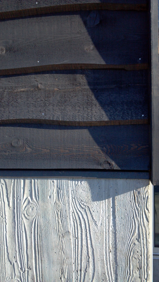 Notice the nail heads' steely sheen  against the dark-stained wood siding.
