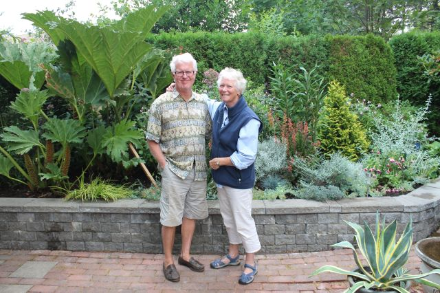 Jim and Chris standing in front of one of the many wonderful vignettes that makes up this garden.