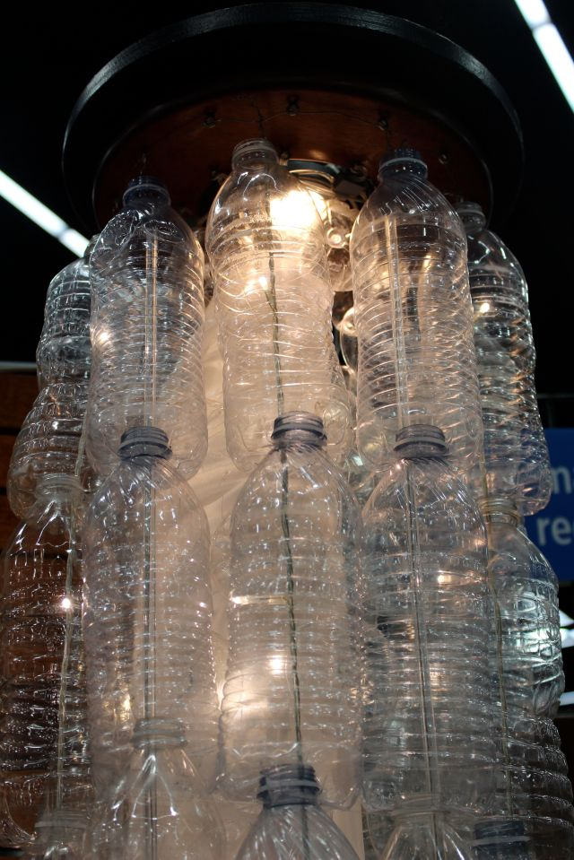 Another great idea was the light fixture made with up cycled water bottles.