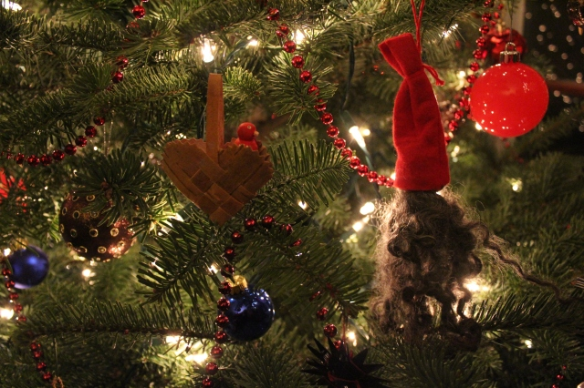 Sheepskin and felt gnome ornament