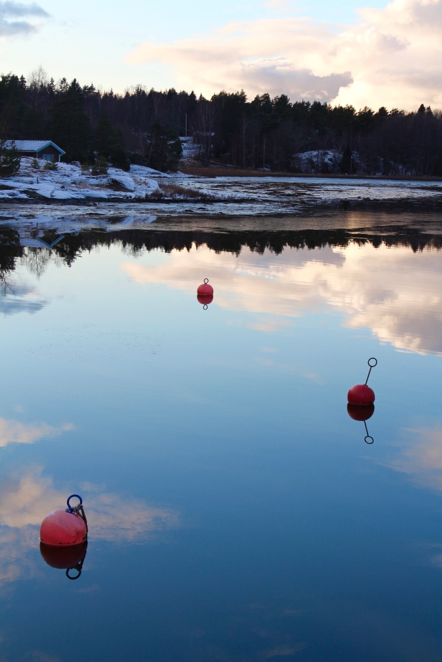 Buoys on water