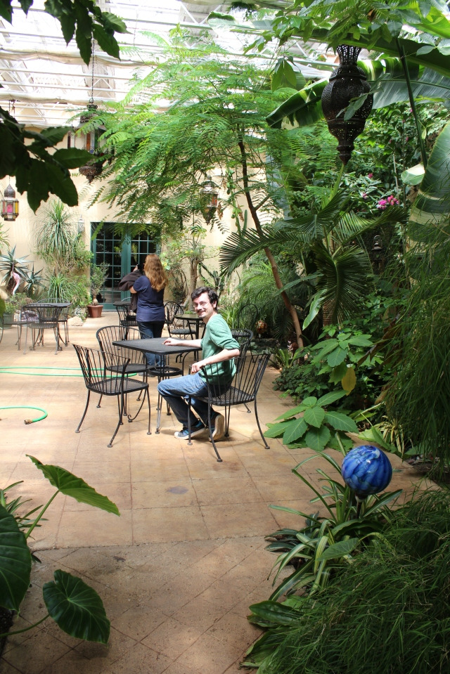 Within the walls of the house, there is a covered courtyard with a year-round tropical garden. Here, we were served a glass of their wine - it was wonderfully delicious and refreshing!