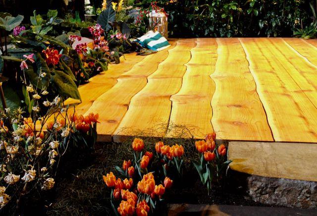 Naturalistic wooden deck floor