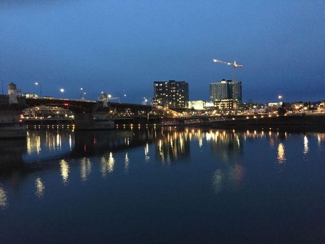 The east bank of the Willamette River